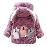 M RACLE Baby Girls' Kids Toddler Winter Warm Outerwear Snowsuit Coats Jackets (1-2 Years, Rabbit Purple)