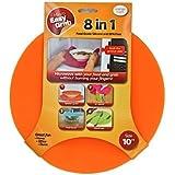 "Micro Easy Grab 10"" Orange Silicone 8 in 1: Splatter Guard, Trivet, Placemat, Jar Opener, Pot Grabber, Utensil Rest, Food Cover, Microwaveable"