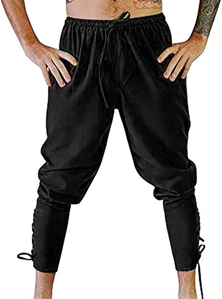 Mens Retro Lace-up Ankle Banded Pants Medieval Viking Navigator Pirate Costume Trousers Renaissance Gothic Pants