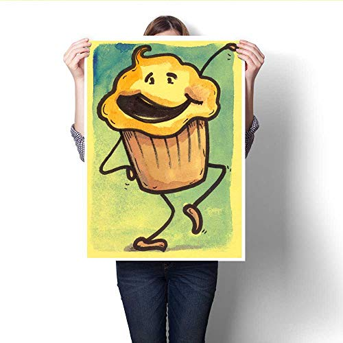 Anshesix Canvas Wall Art Happy Cupcake with Whipped Icing Smiling and Dancing Frameless Canvas Texture decoration32 x48