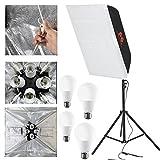 "Fomito Foldable Photography Softbox Light Lighting Kit Photo Equipment Soft Studio Light Softbox 24""x24"" /60x60cm with Opeing Window + Flash Stand + 4 x 12W Flash Bulb 110V"