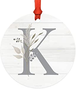 Andaz Press Round Metal Keepsake Monogram Alphabet Christmas Ornament Gift, Initial Letter K, Farmhouse Vintage Floral, 1-Pack, Christmas Family Tree Decorations