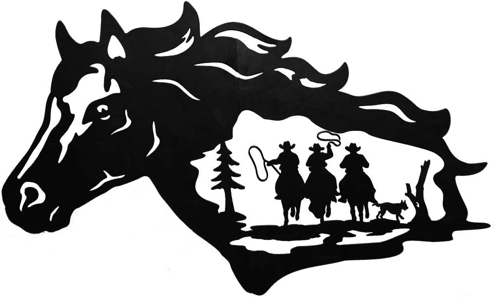Zcaukya Metal Cowboy and Horse Wall Decor, Western American Style Art Wall Hanging Sculpture for Indoor Outdoor Home Bedroom Office, 24