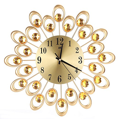 Diamond Outdoor Clock - Peize HOT!!! 3D Wall Clock Diamonds Non-Ticking Silent Dazzling Metal Wall Clock (Gold)
