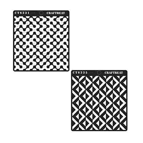 Wood 6X6 | Reusable Painting Template for Home Decor 2 pcs Wall Abstract Connected Arcs /& 3D Square Pattern DIY Albums and Printing on Paper Crafting Tile Floor CrafTreat Stencil Fabric