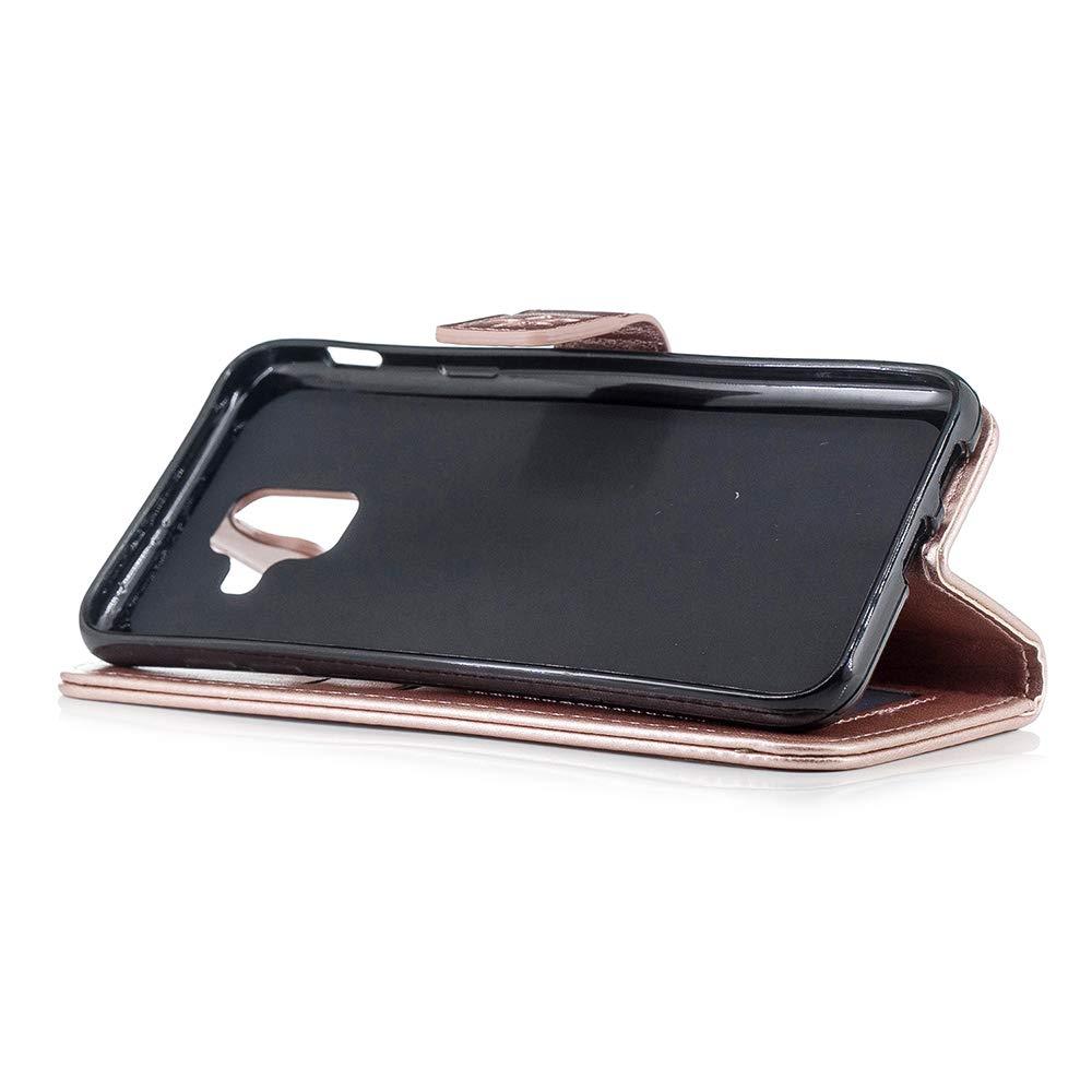 Or Rose Coque Samsung Galaxy A6 2018 Housse en Cuir LaVibe Portefeuille /Étui /à Rabat Clapet Support Fermeture Magn/étique Porte Video Stand Ananas Design Flip Wallet Protective Case