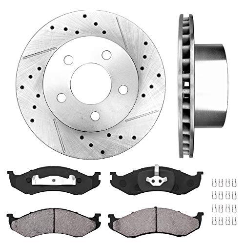 (Callahan CDS02015 FRONT 280 mm Premium D/S 5 Lug [2] Brake Disc Rotors + [4] Ceramic Brake Pads + Hardware)