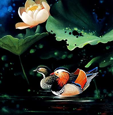 Two Mandarin ducks Oil Painting Reprodution. Based on Famous Traditional Chinese Realistic Painting. (Unframed and Unstretched).