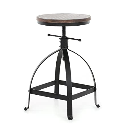 VINTAGELIVING Vintage Bar Stool Swivel Coffee Kitchen Dining Chair Counter Height Adjustable 25 Industrial Style