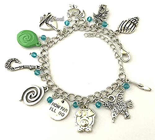 Moana Charm Bracelet - Maui Fish Hook Jewelry Merchandise Gifts Ideas for Christmas Silver -