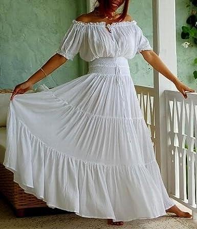 LOTUSTRADERS Womens Boho Dress Mexican Peasant Ruffled Smocked Waist A763