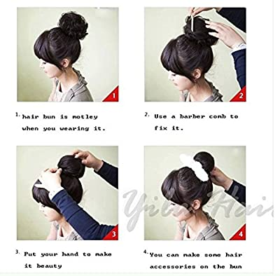 Beauty Wig World BUN Up Do Hair Piece Hair Ribbon Ponytail Extensions Draw String Scrunchy Scrunchie Curly or Messy Different Colors(1#Jet Black)