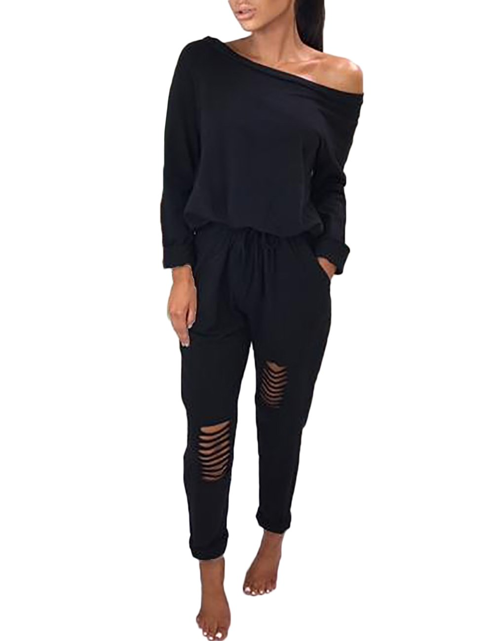 Ninimour Womens Casual One Off Shoulder Drawstring Top Ripped Pants Jumpsuits,Black,Small