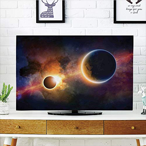 LCD TV dust Cover Customizable,Outer Space Decor,Planet in Milky Way Dark Nebula Gas Cloud Celestial Solar Eclipse Galaxy Theme,Multi,Graph Customization Design Compatible 47