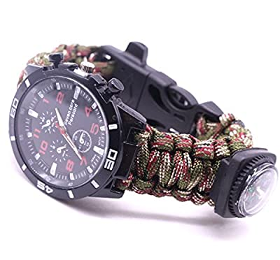 BIBU Survival Survival Bracelet Watch, Survival Kits Tools with Rope, Whistle, Compass, Fire Starter, Emergency Knife, Watch for Outdoor Hiking Camping Hunting