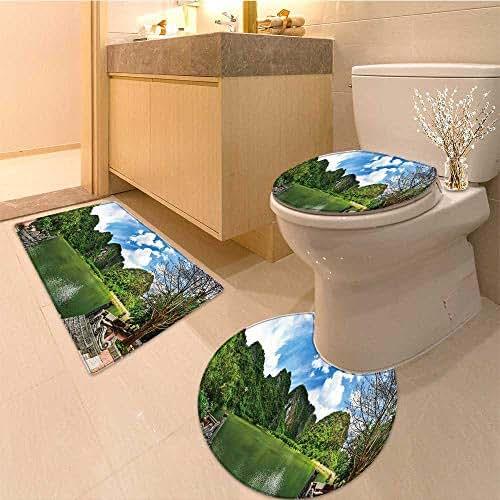 MikiDa Bathroom Non-Slip Rug Set landscape of trang an ninh binh in Bath Mat Bathroom Rugs