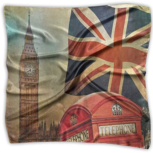 Square Scarf Vintage London City UK Flag Big Ben Head & Neck Unisex Neckerchief Tie For Women