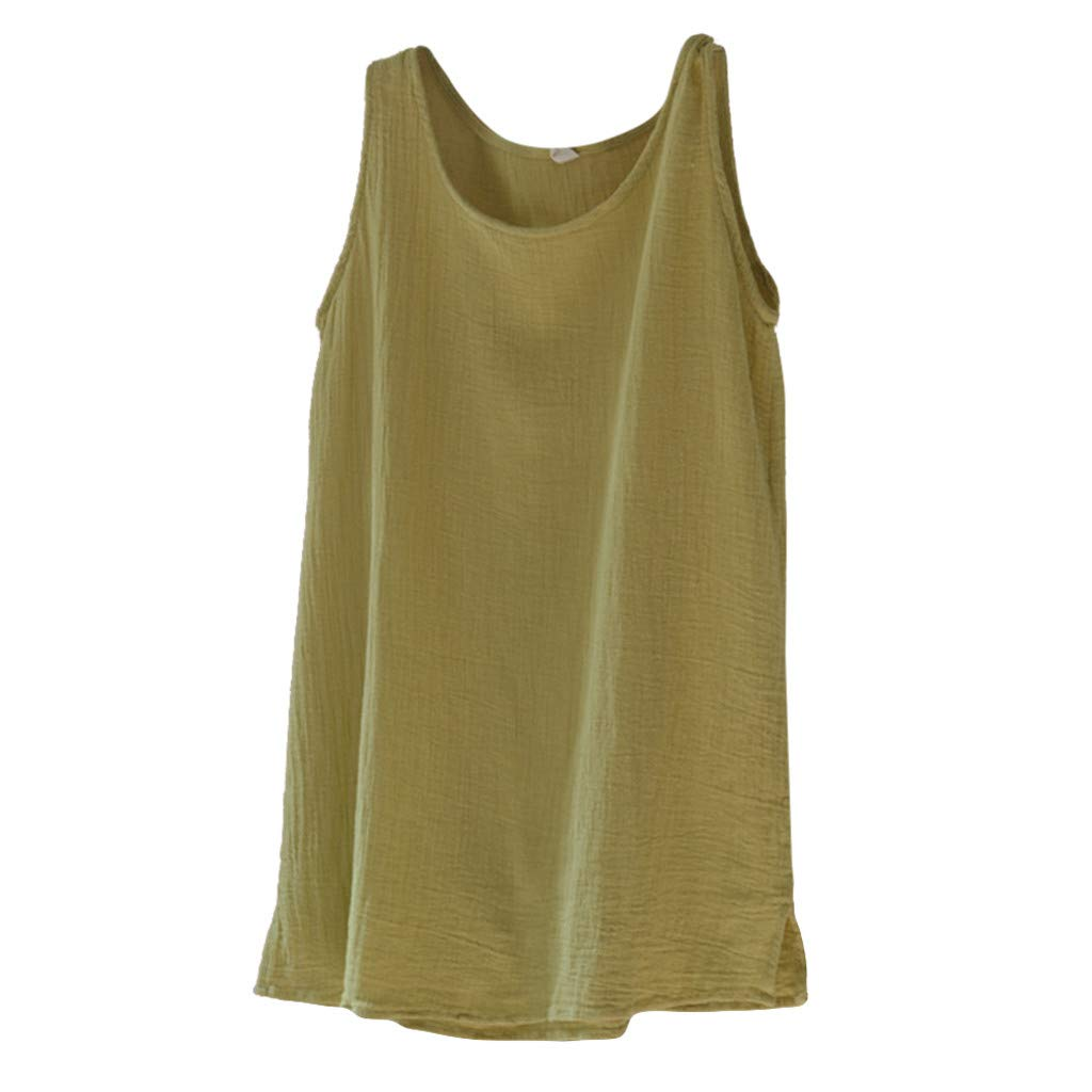 Fashion Womens Tank Tops Casual O-Neck Solid Sleeveless Linen Vest Casual Loose Blouses (M, Yellow)