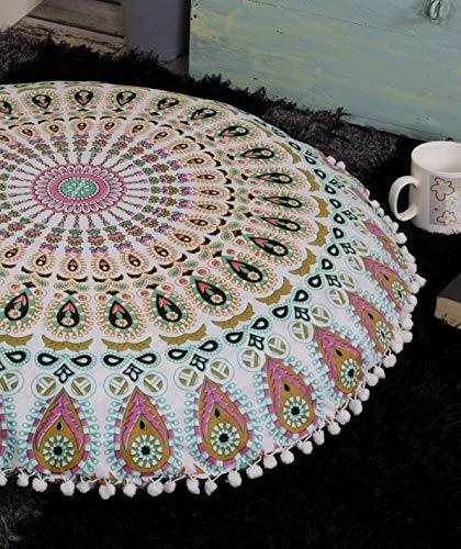 Popular Handicrafts Large Ombre Mandala Round Hippie Floor Pillow Cover - Cushion Cover - Pouf Cover Bohemian Yoga Decor Floor Cushion Case - 32 Multicolor