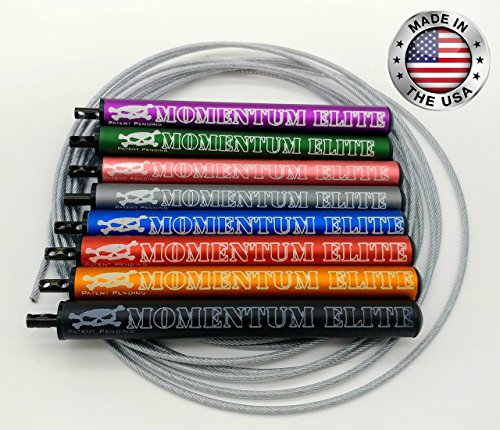 Momentum Elite CrossFit Speed Rope, Easily adjustable, 10 Foot Length Bare Cable Jump Rope for Customized Fit, Smooth spinning, Faster, Anti-friction Nylon Bearings, (Black, Regular)