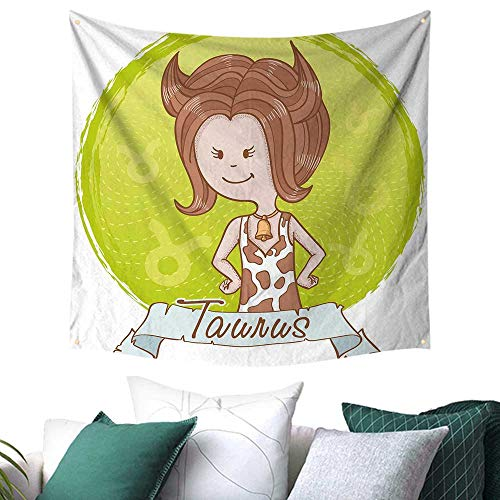 homehot Taurus Tapestry for Bedroom Cute Cartoon Little Girl Dressed Like Cow with Spots and Horns Image a 55W x 55L Inch Light Caramel Apple Green ()