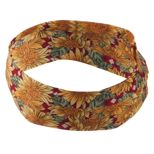 Pleated Fabric Print Hat Bands - Sunflower Red OSFM