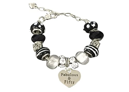Amazon Fifty Fabulous Beaded Charm Bracelet 50th Birthday