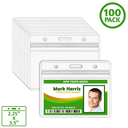 - EcoEarth Horizontal ID Badge Holder (Sealable Fits 2.25x3.5 Inserts ) (100 Pack), ID Holder Bulk, ID Card Holder, Name Badge Holder, Name Tag Holder, Plastic Badge Holder, Clear Card ID Protector