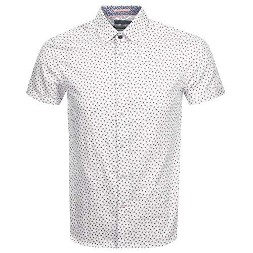 Ted Baker Slloris Short Sleeve Shirt in White & Orange