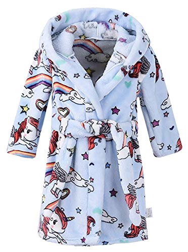 Boys' Flannel Robe, Warm Plush Fleece Bathrobe Hooded