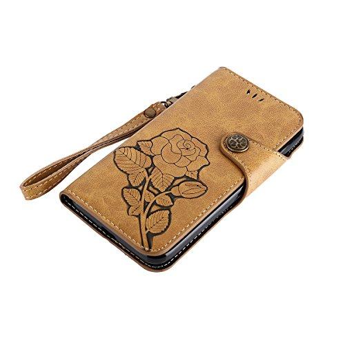 MEIRISHUN Leather Wallet Case Cover Carcasa Funda con Ranura de Tarjeta Cierre Magnético y función de soporte para Huawei Y3 (2017) - Caqui Caqui