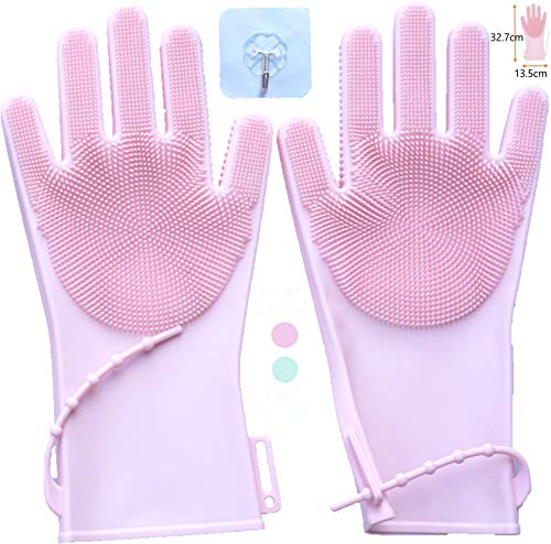 Large Pair Silicone Rubber Reusable Household Cleaning Gloves with Sponge Scrubbers & Strap-Dishwashing Gloves, Car…