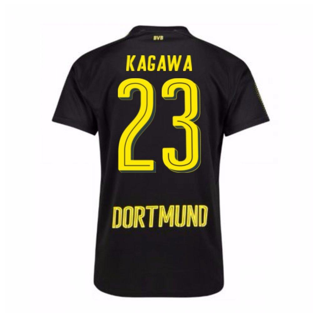 2017-18 Borussia Dortmund Away Shirt (Kagawa 23) Kids B078487YN3Black Small Boys 24/26\
