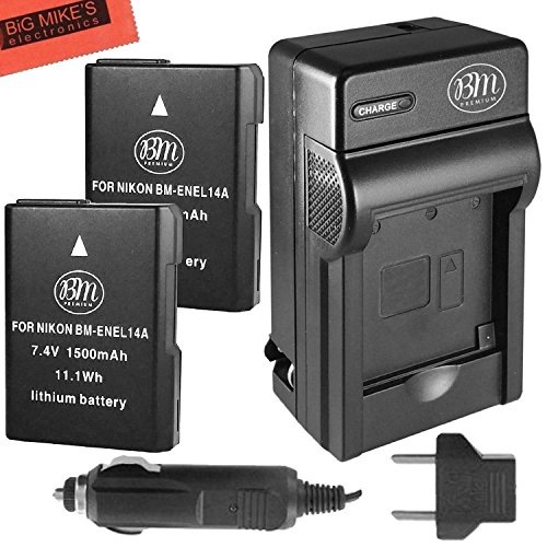 BM Premium 2-Pack of ENEL14, EN-EL14, EN-EL14A Battery and Charger for Nikon D3400, D5600, D3100, D3200, D3300, D5100, D5200, D5300, D5500, DF, Coolpix P7000, P7100, P7700, P7800 Digital Camera