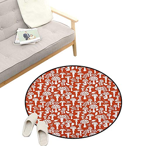 Mushroom Round Area Rug Non-Slip ,Cute Amanita Pattern with Leaves Berries Poisonous Plants Cartoon Style, Living Room Bedroom Coffee Table 31
