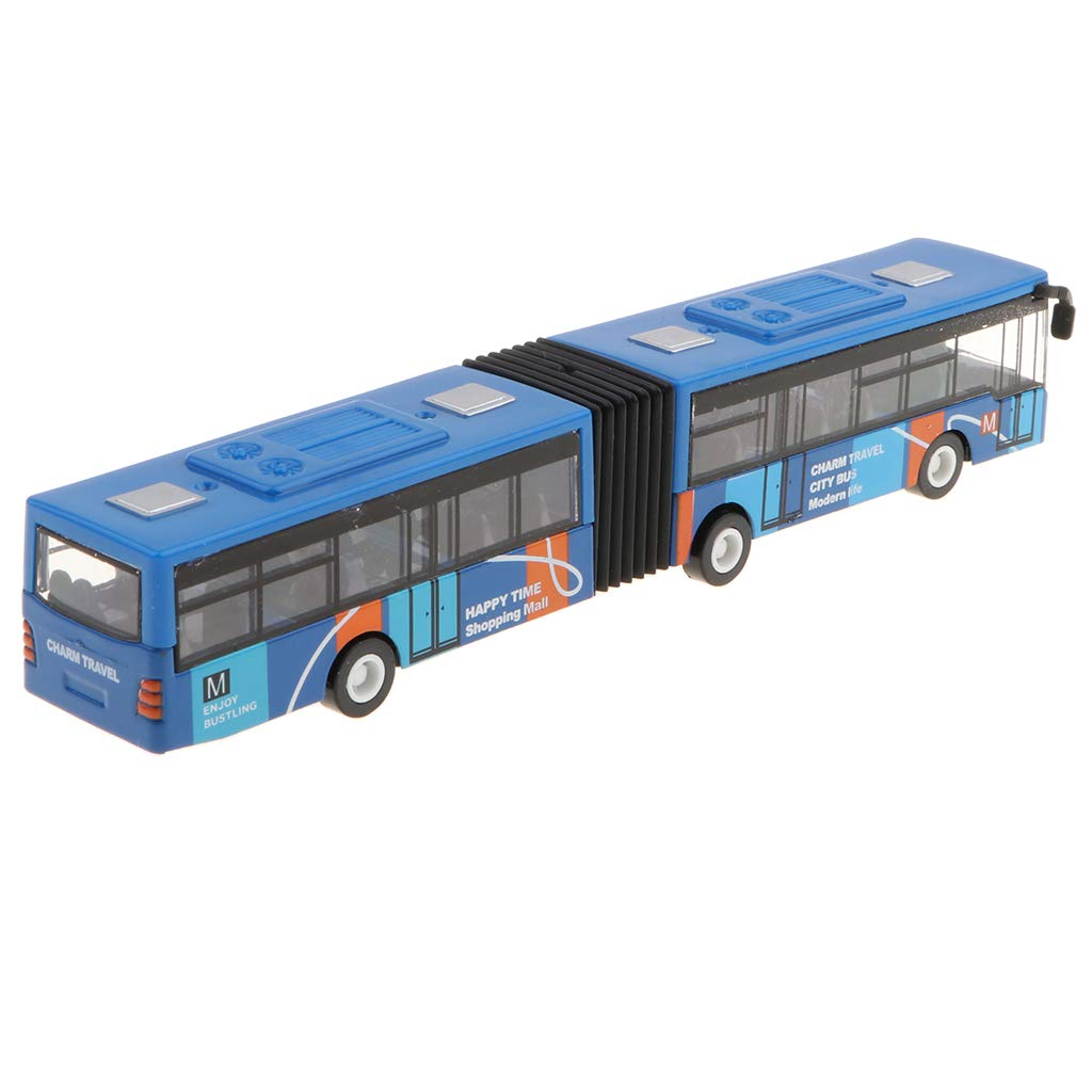 Baoblaze 1:64 18cm Long Bus Model Toy Pull Back Alloy Art Crafts Collection Blue