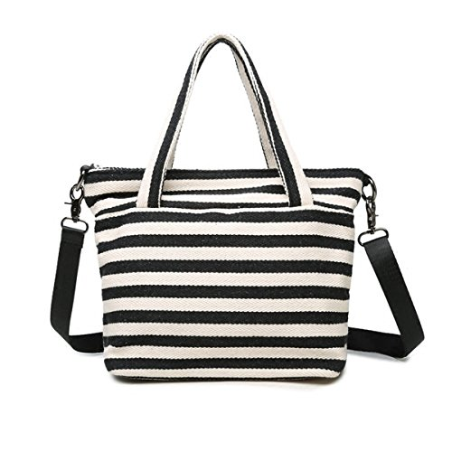 - Women's Canvas Crossbody Bag White and Black Stripe Handbag Casual Shoulder Bag Tote Shopping Bag Hobo Style