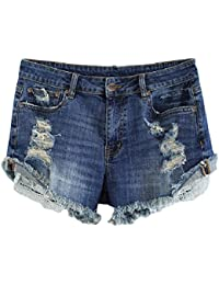 Women's Plus Size Destroyed Ripped Hole Washed Short Jeans Pants Denim Shorts