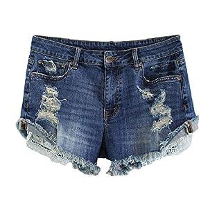 MSSHE Women's Plus Size Destroyed Ripped Hole Washed Denim Shorts