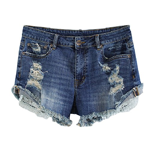 MSSHE Women's Plus Size Destroyed Ripped Hole Washed Denim Shorts