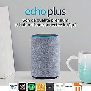 Nouvel Echo Plus (2ème génération), Tissu anthracite + Ampoule connectée Philips Hue