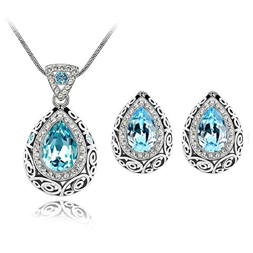 TOPOB Fashion Retro Pattern Trend Classical Water Droplets Pendant Constellation Noble Enamel Crystal Earrings Necklace Set Light Blue