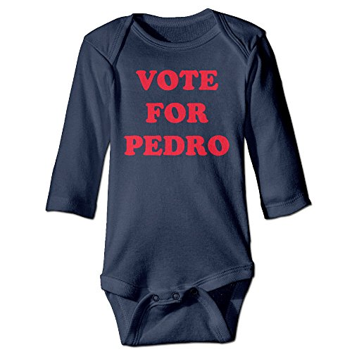 U9 6-24 Months Newborn Babys Vote For Pedro Long Sleeve Jumpsuit Outfits Navy Size 12 (Napoleon Dynamite Outfit)