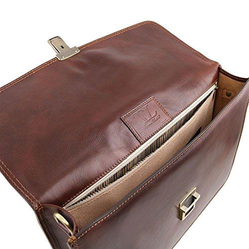 Tuscany Leather - Amalfi - Cartable en cuir avec 1 compartiment - Marron - Homme