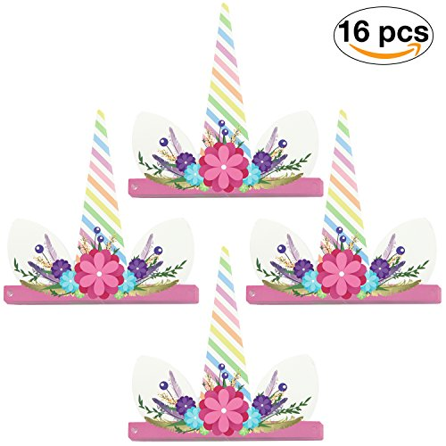 Enfy 16 Pieces Unicorn Party Hats by Lovely Horn Props for Kids Birthday Party, Baby Shower, Kindergarten Class Parties - Must Have for Unicorn Lovers, 16 Pieces One Size Fits All (Flowers) by Enfy