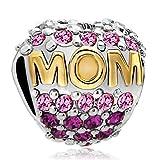 Pugster 22k Golden Mother Daughter Mom Pink Crystal Bead Fit Pandora Charms Bracelet