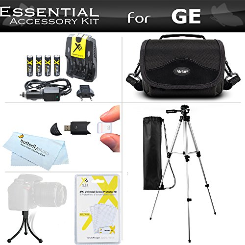 Essential Accessories Kit For GE POWER Pro series X500, X5, Power Pro X550 Digital Camera Includes 4AA High Capacity Rechargeable NIMH Batteries And AC/DC Rapid Charger + USB Reader + Deluxe Case + 50″ Tripod w/Case + Screen Protectors + MorE