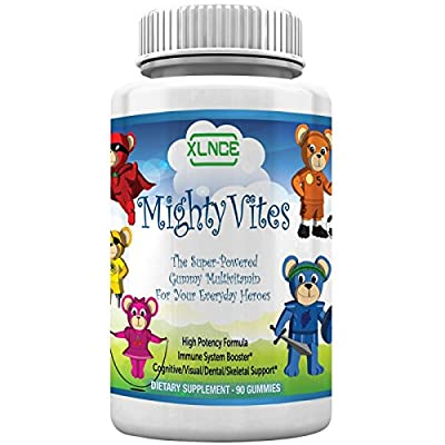 MightyVites Children's Gummy Multivitamins: Extra Strength Vitamin A, B6, B12, C, D3, & Biotin. Vegetarian, Pectin, Kosher & Halal, Made in the USA for Kids, Toddlers & Teens. 90 Count (30 Day Supply)