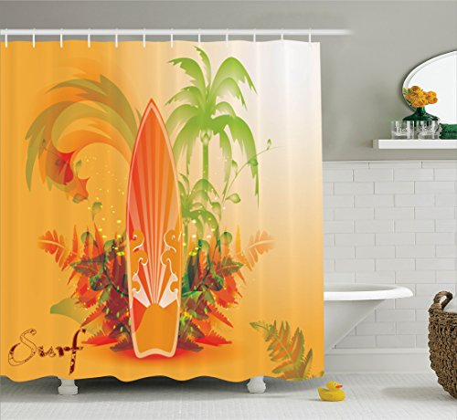 (Ambesonne Surfboard Decor Collection, Surf Background Wave Water Drops Advertise Leaf Activities Destination Fun Party Image, Polyester Fabric Bathroom Shower Curtain Set with Hooks, Orange Green)