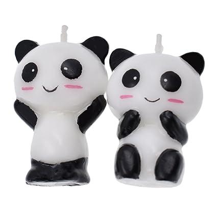 Hongma 1 Paire Bougie Panda Migon Cartoon Anniversaire Baptême Accessoire Décoration Soirée